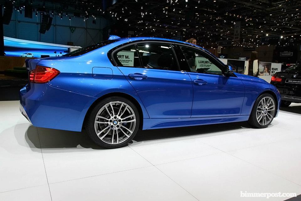 BMW Série 3 M Sport com pacote esportivo e detalhes da lateral exibida no Salão de Genebra 2012