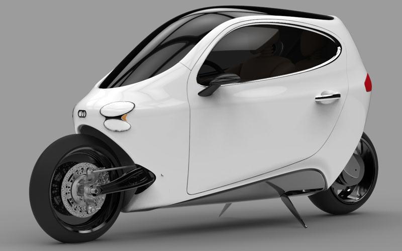 lit motors modelo C1 2014 carro de duas rodas elétrico detalhes 2